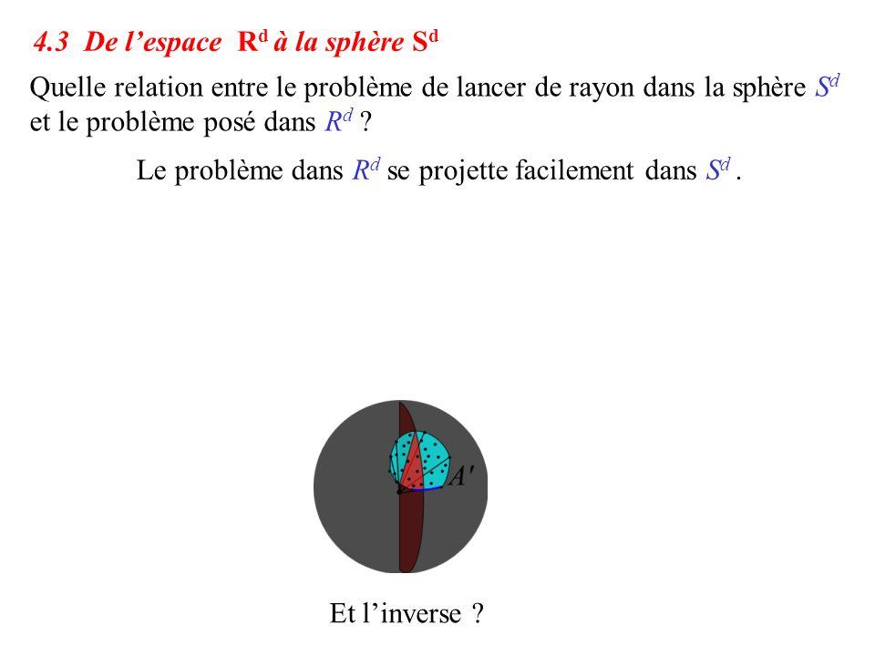 Quelle relation entre le problème de lancer de rayon dans la sphère S d et le problème posé dans R d ? Et l'inverse ? 4.3 De l'espace R d à la sphère
