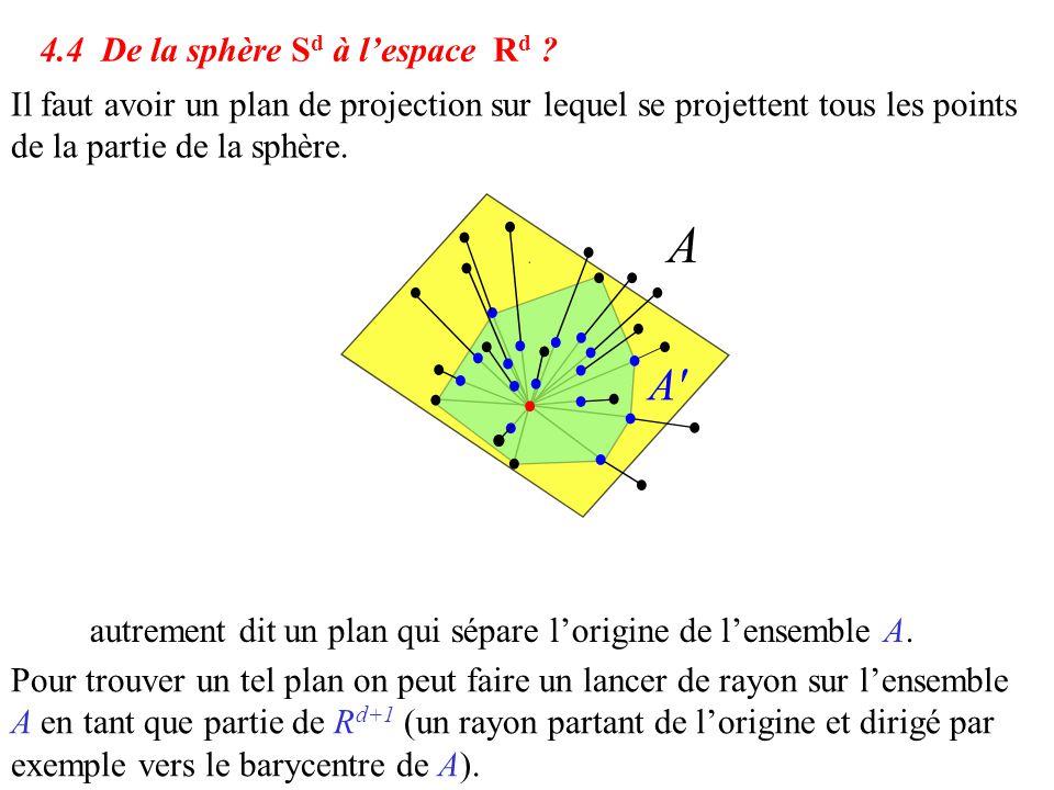 Il faut avoir un plan de projection sur lequel se projettent tous les points de la partie de la sphère. 4.4 De la sphère S d à l'espace R d ? autremen