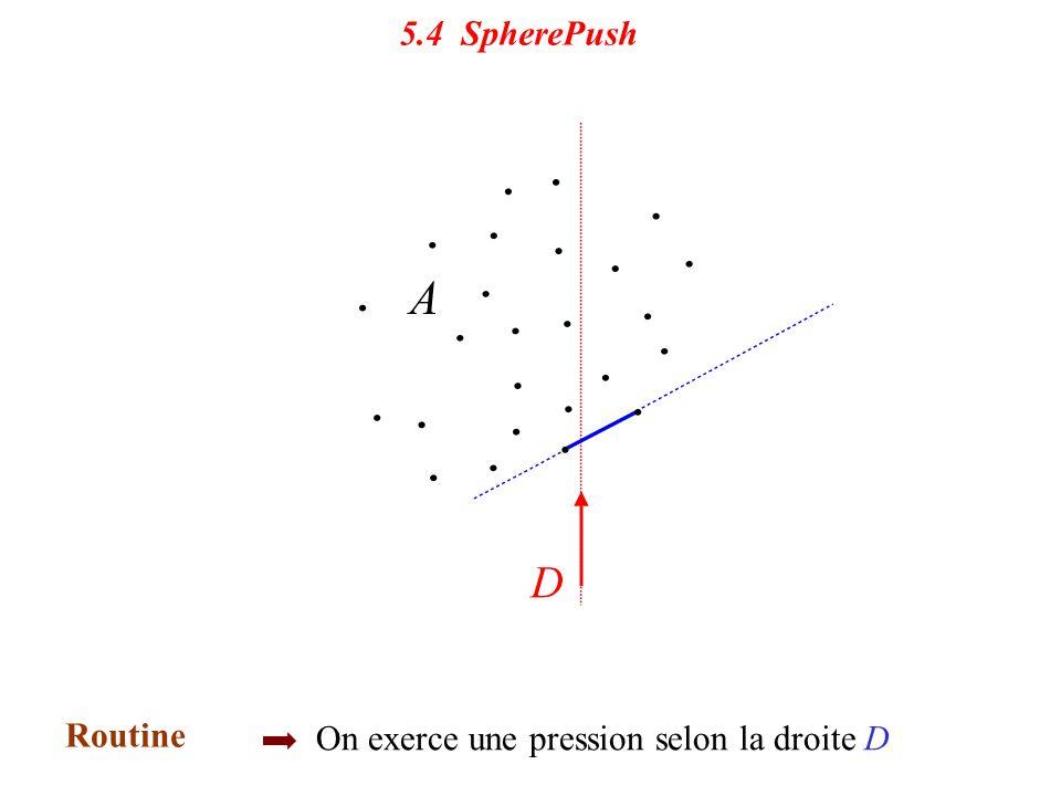5.4 Sphere Push Initialisation une sphère contenant A Routine On exerce une pression selon la droite D 5.4 SpherePush