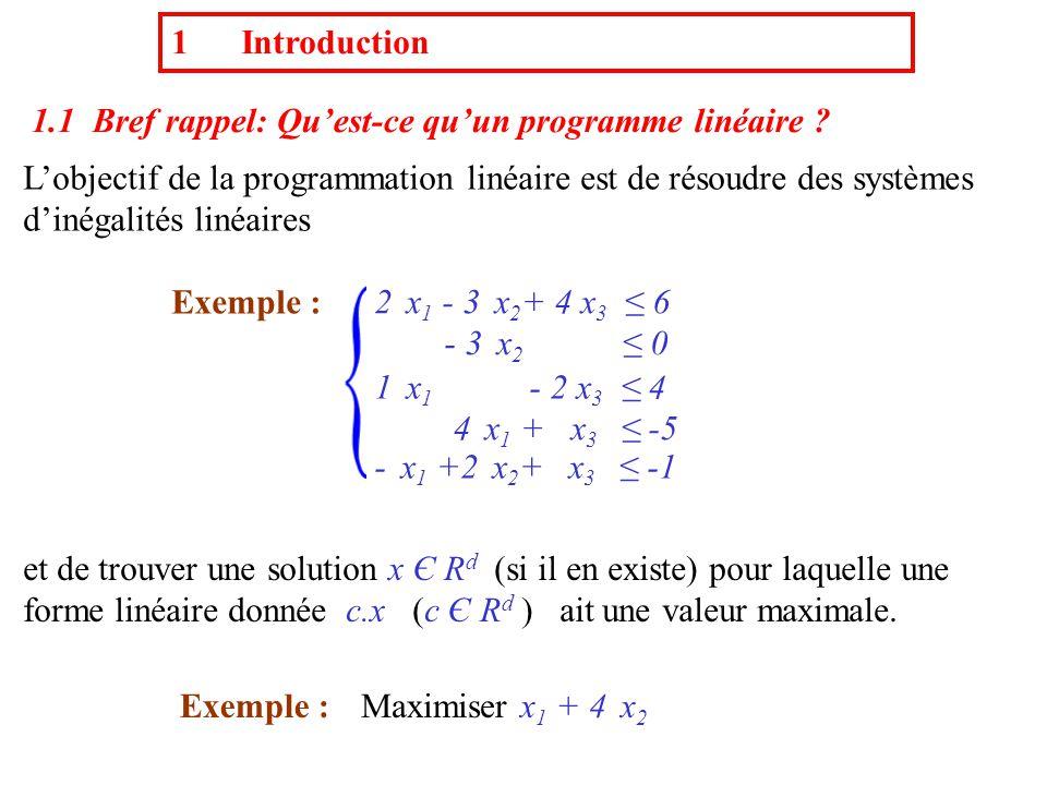 Données :- Des inégalités linéaires dans R d a 1 x 1 +a 2 x 2 +…+ a j x j +…+a d x d ≤ a d+1 - Une forme linéaire de R d c.x où c Є R d (non nul) Questions : Existe-t-il une solutions aux inégalités.