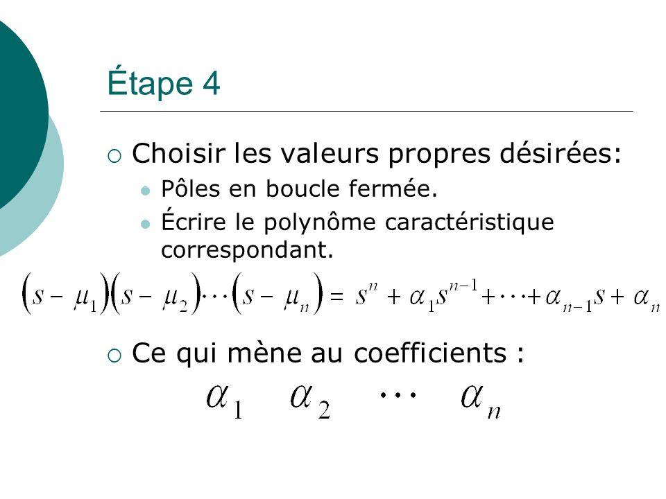 Étape 4  Choisir les valeurs propres désirées: Pôles en boucle fermée. Écrire le polynôme caractéristique correspondant.  Ce qui mène au coefficient