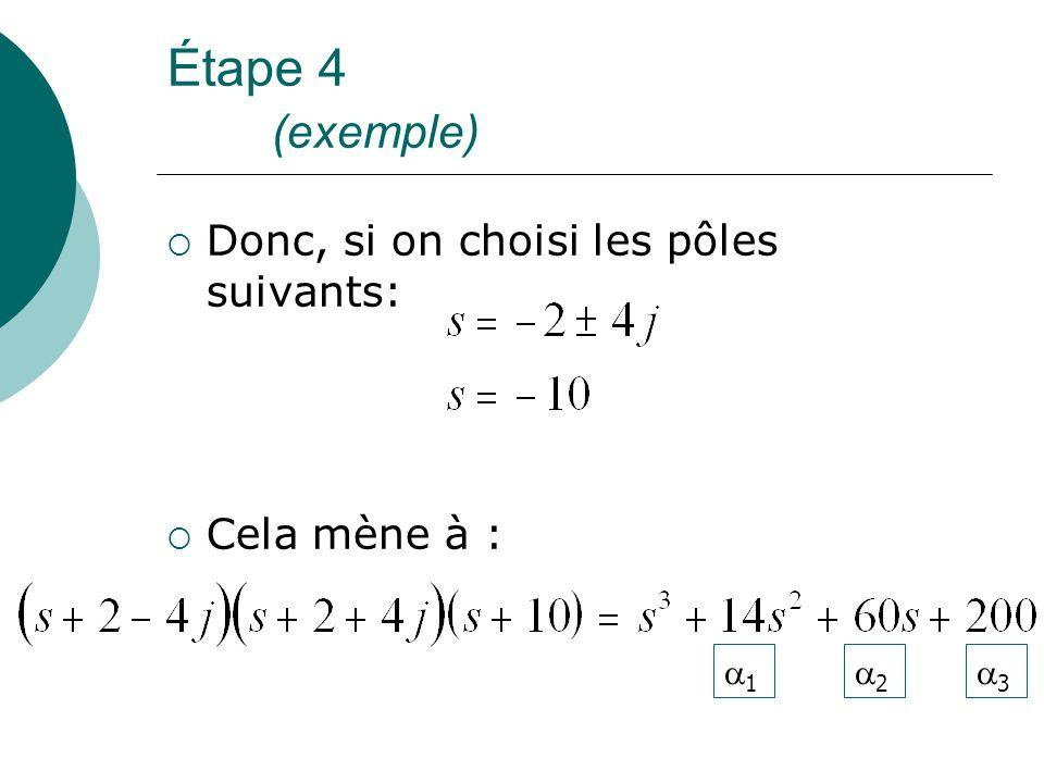 Étape 4 (exemple)  Donc, si on choisi les pôles suivants:  Cela mène à : 11 22 33
