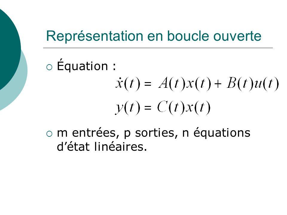 Représentation en boucle ouverte  Équation :  m entrées, p sorties, n équations d'état linéaires.