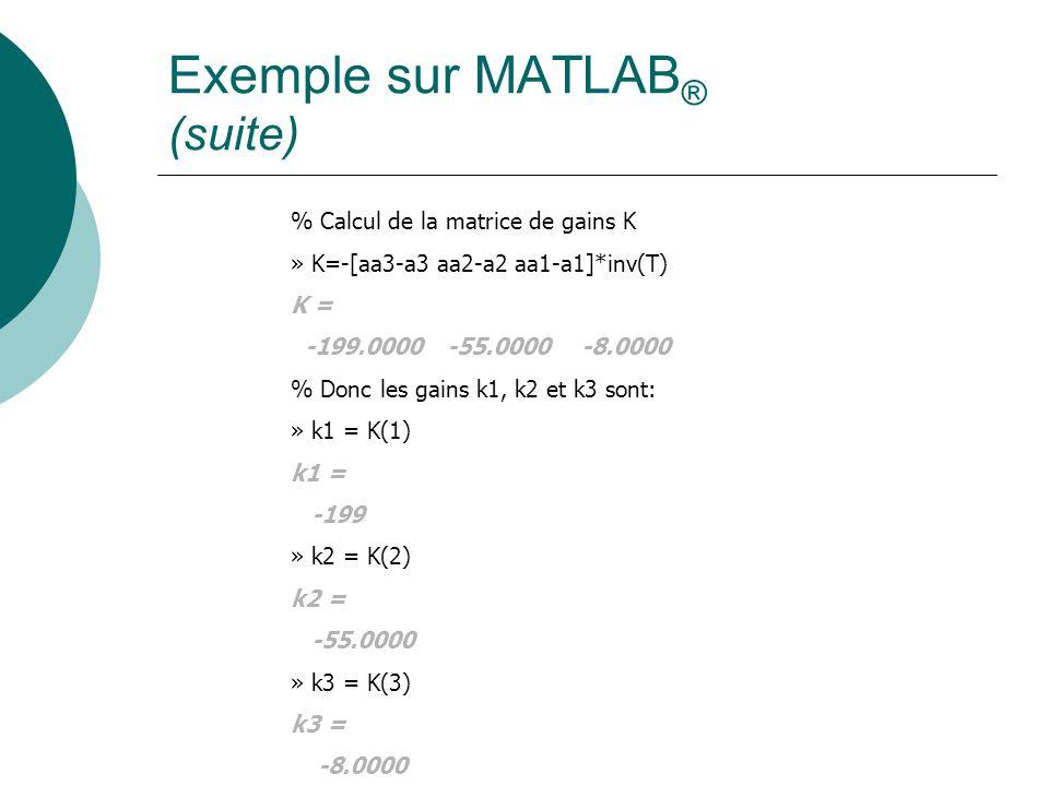 Exemple sur MATLAB ® (suite) % Calcul de la matrice de gains K » K=-[aa3-a3 aa2-a2 aa1-a1]*inv(T) K = -199.0000 -55.0000 -8.0000 % Donc les gains k1, k2 et k3 sont: » k1 = K(1) k1 = -199 » k2 = K(2) k2 = -55.0000 » k3 = K(3) k3 = -8.0000