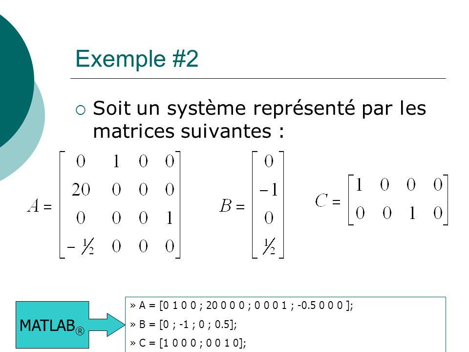 Exemple #2  Soit un système représenté par les matrices suivantes : » A = [0 1 0 0 ; 20 0 0 0 ; 0 0 0 1 ; -0.5 0 0 0 ]; » B = [0 ; -1 ; 0 ; 0.5]; » C
