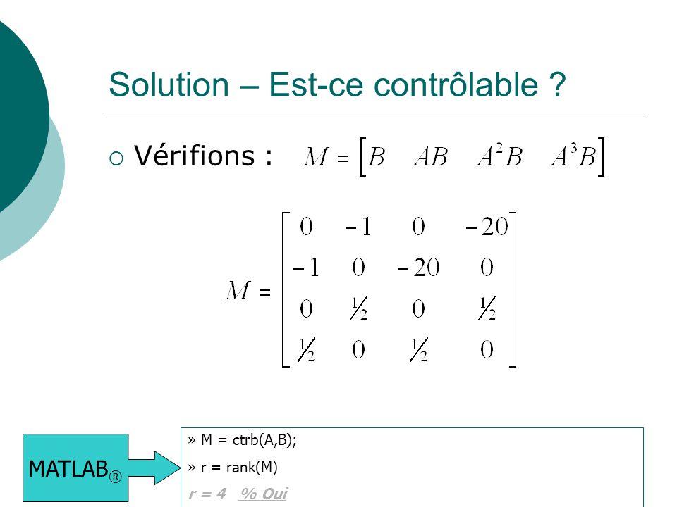 Solution – Est-ce contrôlable ?  Vérifions : » M = ctrb(A,B); » r = rank(M) r = 4 % Oui MATLAB ®