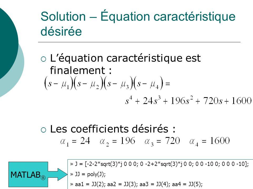 Solution – Équation caractéristique désirée  L'équation caractéristique est finalement :  Les coefficients désirés : » J = [-2-2*sqrt(3)*j 0 0 0; 0 -2+2*sqrt(3)*j 0 0; 0 0 -10 0; 0 0 0 -10]; » JJ = poly(J); » aa1 = JJ(2); aa2 = JJ(3); aa3 = JJ(4); aa4 = JJ(5); MATLAB ®