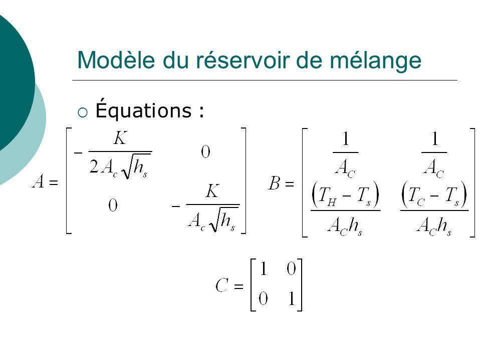 Modèle du réservoir de mélange  Équations :