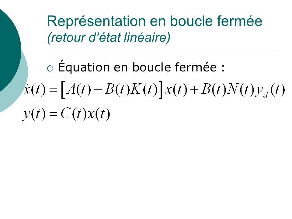 Représentation en boucle fermée (retour d'état linéaire)  Équation en boucle fermée :