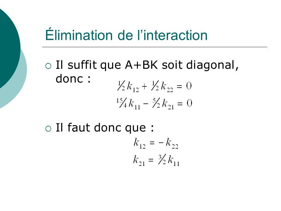 Élimination de l'interaction  Il suffit que A+BK soit diagonal, donc :  Il faut donc que :
