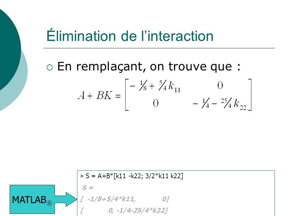 Élimination de l'interaction  En remplaçant, on trouve que : » S = A+B*[k11 -k22; 3/2*k11 k22] S = [ -1/8+5/4*k11, 0] [ 0, -1/4-25/4*k22] MATLAB ®