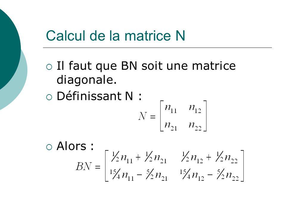 Calcul de la matrice N  Il faut que BN soit une matrice diagonale.  Définissant N :  Alors :