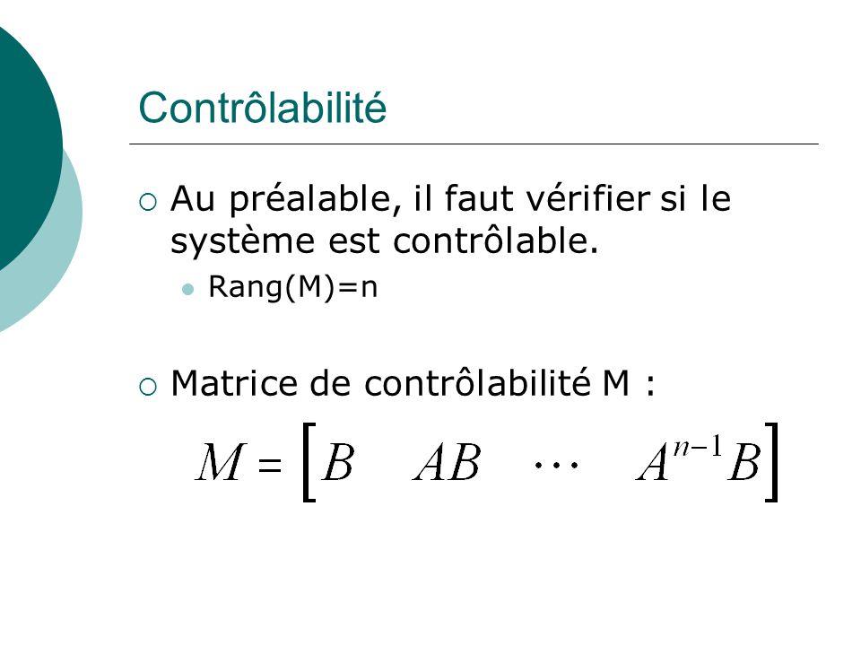 Contrôlabilité  Au préalable, il faut vérifier si le système est contrôlable. Rang(M)=n  Matrice de contrôlabilité M :