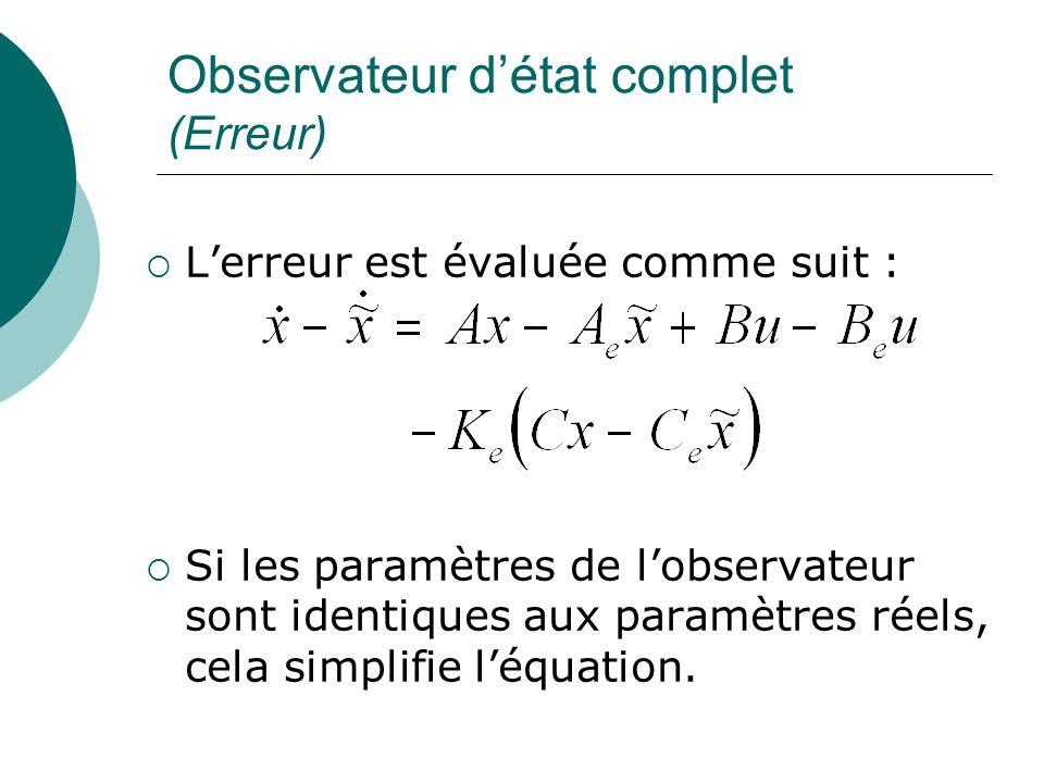 Observateur d'état complet (Erreur)  L'erreur est évaluée comme suit :  Si les paramètres de l'observateur sont identiques aux paramètres réels, cel