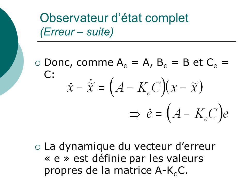 Observateur d'état complet (Erreur – suite)  Donc, comme A e = A, B e = B et C e = C:  La dynamique du vecteur d'erreur « e » est définie par les va