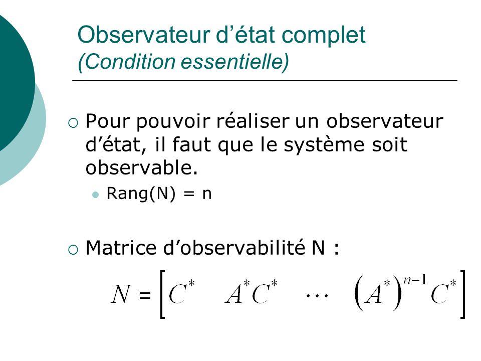 Observateur d'état complet (Condition essentielle)  Pour pouvoir réaliser un observateur d'état, il faut que le système soit observable. Rang(N) = n