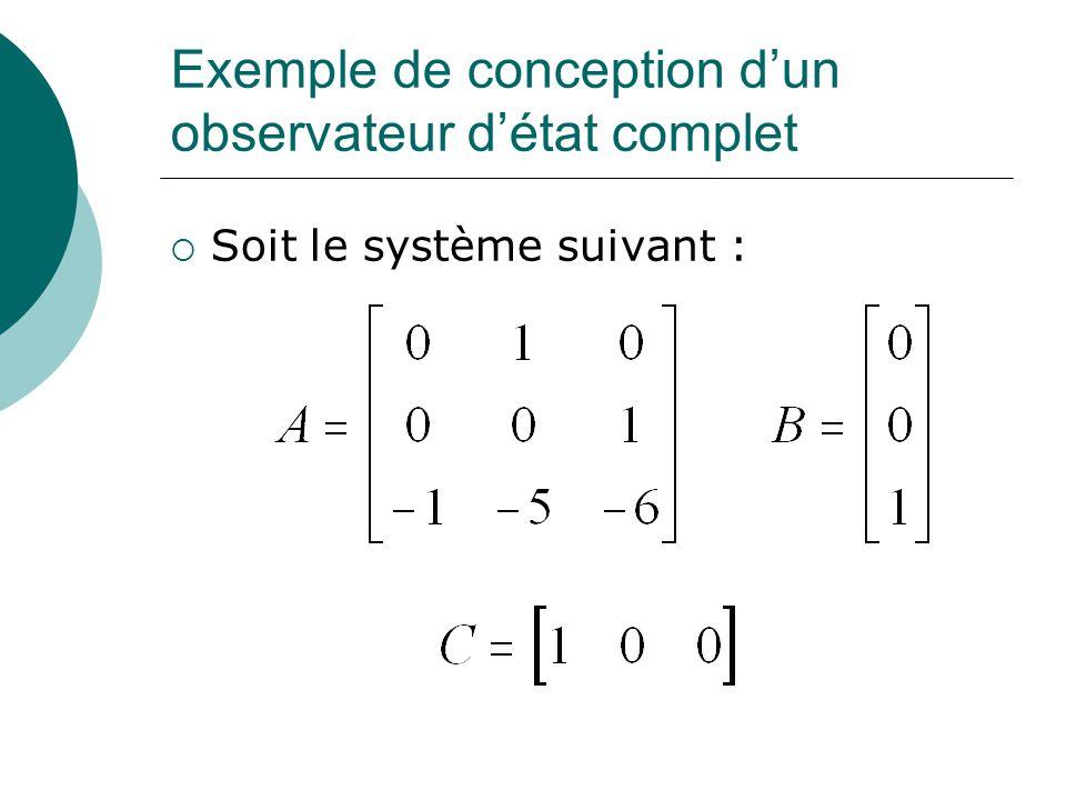 Exemple de conception d'un observateur d'état complet  Soit le système suivant :
