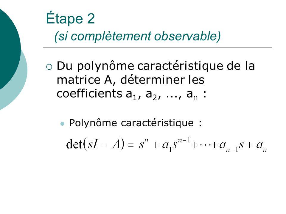 Étape 2 (si complètement observable)  Du polynôme caractéristique de la matrice A, déterminer les coefficients a 1, a 2,..., a n : Polynôme caractéri