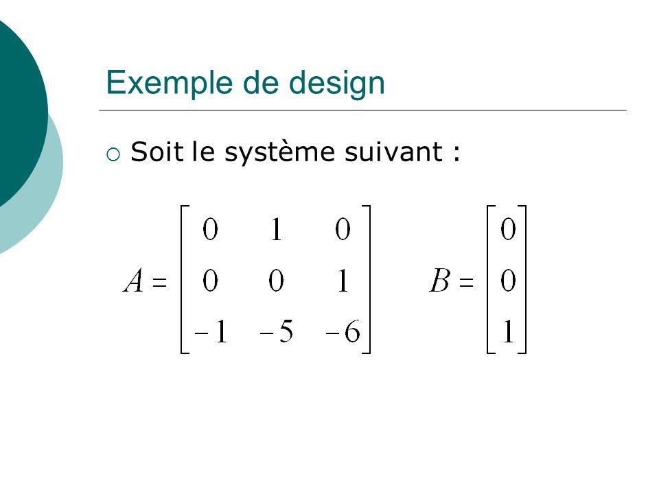 Exemple sur MATLAB ® % Entrée des matrices A et B » A=[0 1 0; 0 0 1; -1 -5 -6]; » B = [0;0;1]; % Déterminer la matrice de contrôlabilité » M=ctrb(A,B); % Déterminer le rang de M » r=rank(M) r = 3 % Puisque le rang est de 3, le placement des pôles est possible