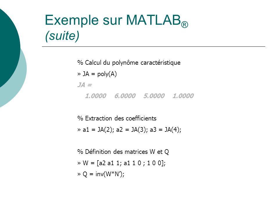 Exemple sur MATLAB ® (suite) % Calcul du polynôme caractéristique » JA = poly(A) JA = 1.0000 6.0000 5.0000 1.0000 % Extraction des coefficients » a1 =