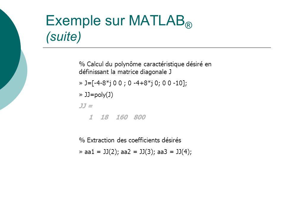 Exemple sur MATLAB ® (suite) % Calcul du polynôme caractéristique désiré en définissant la matrice diagonale J » J=[-4-8*j 0 0 ; 0 -4+8*j 0; 0 0 -10]; » JJ=poly(J) JJ = 1 18 160 800 % Extraction des coefficients désirés » aa1 = JJ(2); aa2 = JJ(3); aa3 = JJ(4);