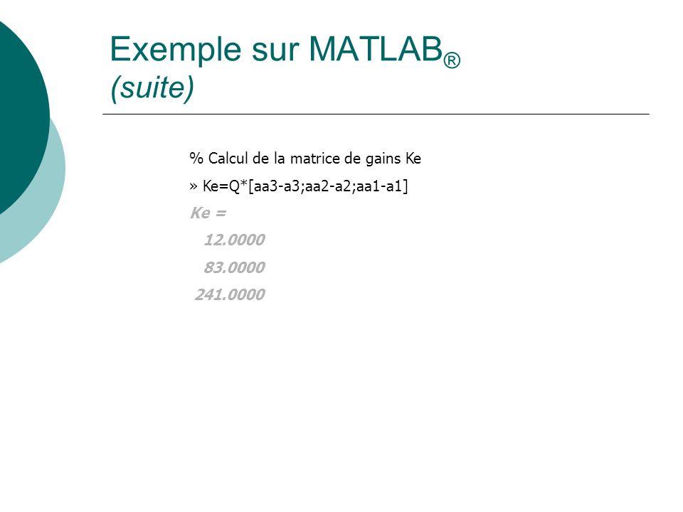 Exemple sur MATLAB ® (suite) % Calcul de la matrice de gains Ke » Ke=Q*[aa3-a3;aa2-a2;aa1-a1] Ke = 12.0000 83.0000 241.0000