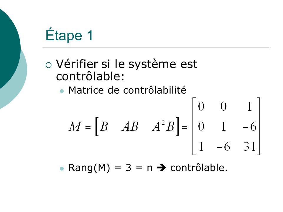 Étape 2 (si complètement contrôlable)  Du polynôme caractéristique de la matrice A, déterminer les coefficients a 1, a 2,..., a n : Polynôme caractéristique :