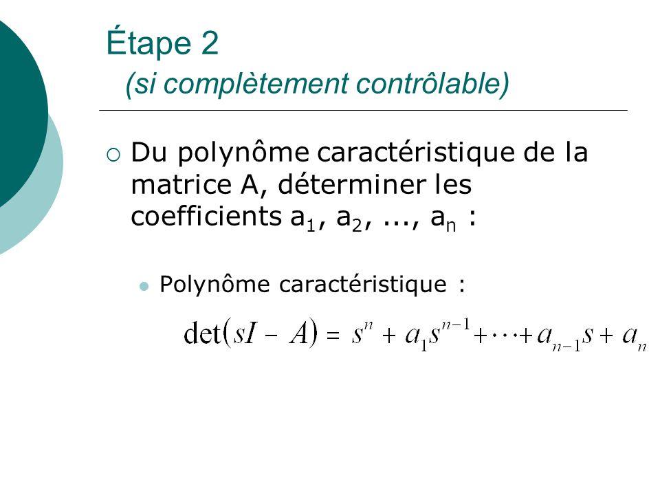 Étape 2 (si complètement contrôlable)  Du polynôme caractéristique de la matrice A, déterminer les coefficients a 1, a 2,..., a n : Polynôme caractér