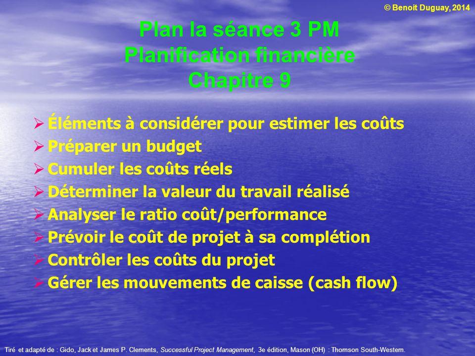 © Benoit Duguay, 2014  L'index coût performance (CPI – Cost Performance Index) est une mesure qui reflète l'efficacité financière avec laquelle le projet est réalisé  CPI = CEV/CAC  Dans l'exemple précédent à la semaine 8 :  CPI = 54000/68000 = 0,7941  Un CPI sous 1,0 indique que trop d'argent a été dépensé compte tenu de la valeur du travail réalisé Tiré et adapté de : Gido, Jack et James P.