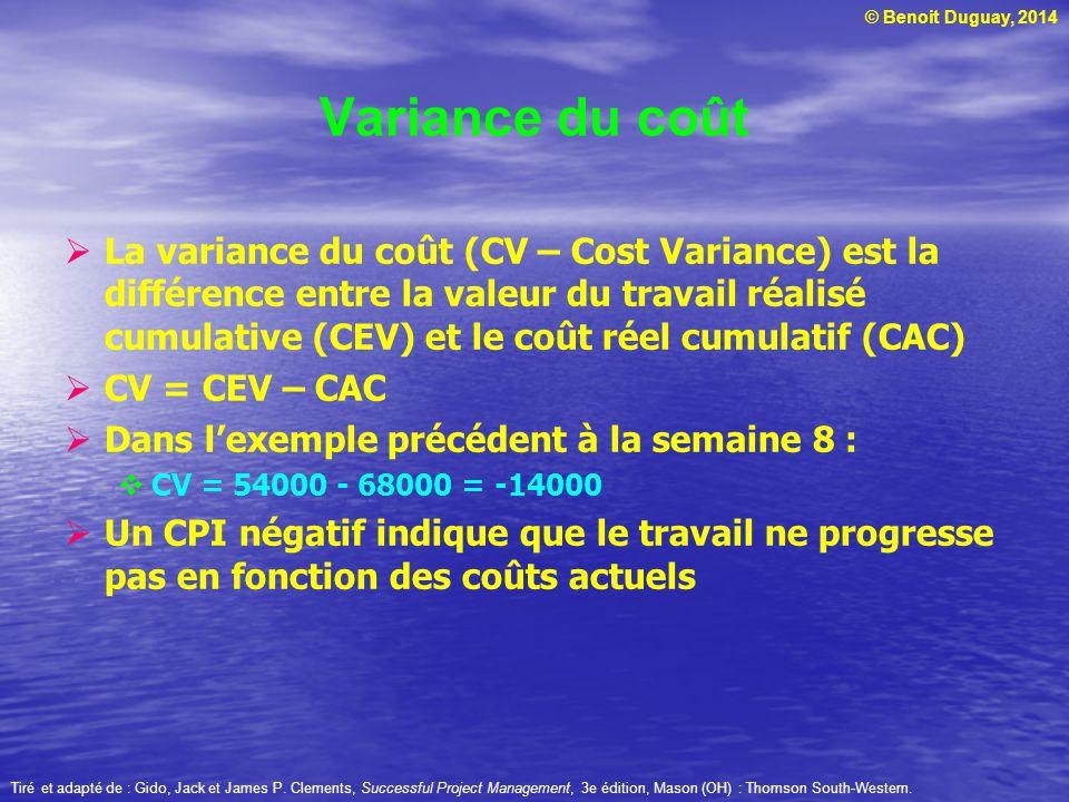© Benoit Duguay, 2014  La variance du coût (CV – Cost Variance) est la différence entre la valeur du travail réalisé cumulative (CEV) et le coût réel cumulatif (CAC)  CV = CEV – CAC  Dans l'exemple précédent à la semaine 8 :  CV = 54000 - 68000 = -14000  Un CPI négatif indique que le travail ne progresse pas en fonction des coûts actuels Tiré et adapté de : Gido, Jack et James P.