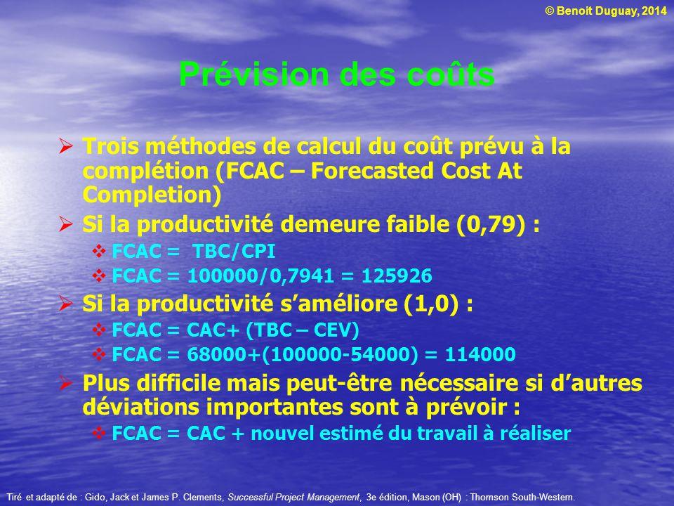 © Benoit Duguay, 2014  Trois méthodes de calcul du coût prévu à la complétion (FCAC – Forecasted Cost At Completion)  Si la productivité demeure faible (0,79) :  FCAC = TBC/CPI  FCAC = 100000/0,7941 = 125926  Si la productivité s'améliore (1,0) :  FCAC = CAC+ (TBC – CEV)  FCAC = 68000+(100000-54000) = 114000  Plus difficile mais peut-être nécessaire si d'autres déviations importantes sont à prévoir :  FCAC = CAC + nouvel estimé du travail à réaliser Tiré et adapté de : Gido, Jack et James P.