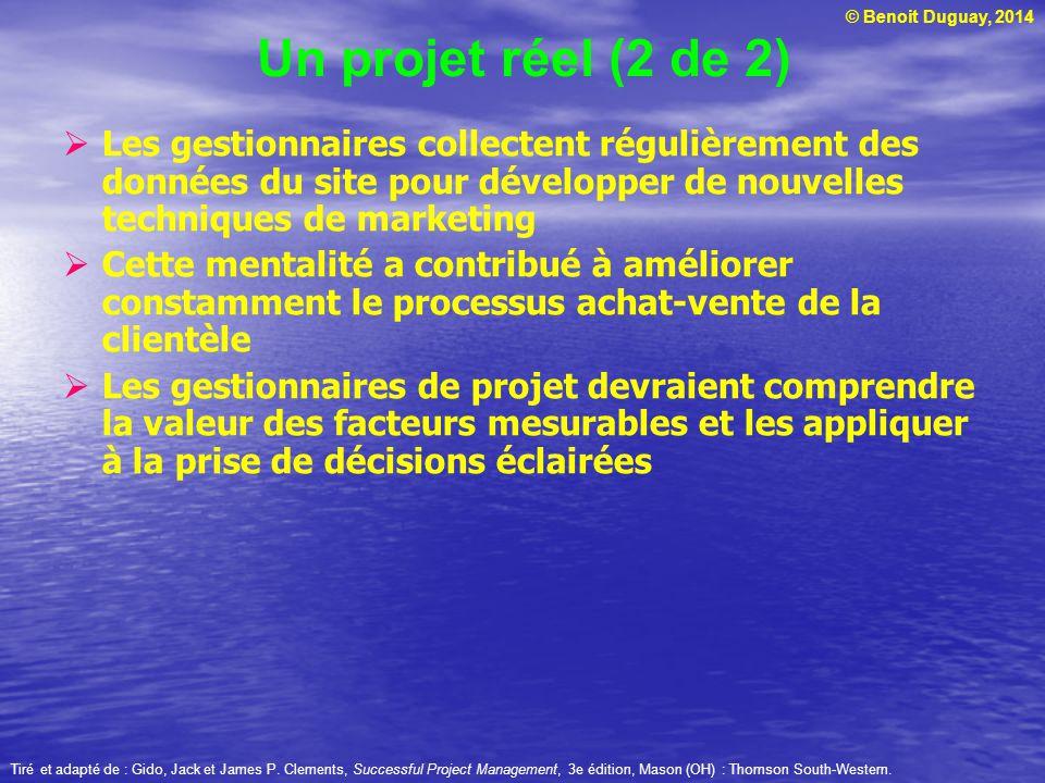 © Benoit Duguay, 2014  Pour réduire les risques, le projet a été scindé en 5 composantes, gérées séparément : les caméras, le traitement et stockage des images, les télécommunications, le service à la clientèle et le réseau de perception des paiements (kiosques, boutiques, etc.)  L'équipe de gestion du projet a travaillé sur les 5 composants dans un endroit centralisé  La recherche de technologies et de fournisseurs a débuté en janvier 2001 et le projet a été complété avec succès en février 2003.