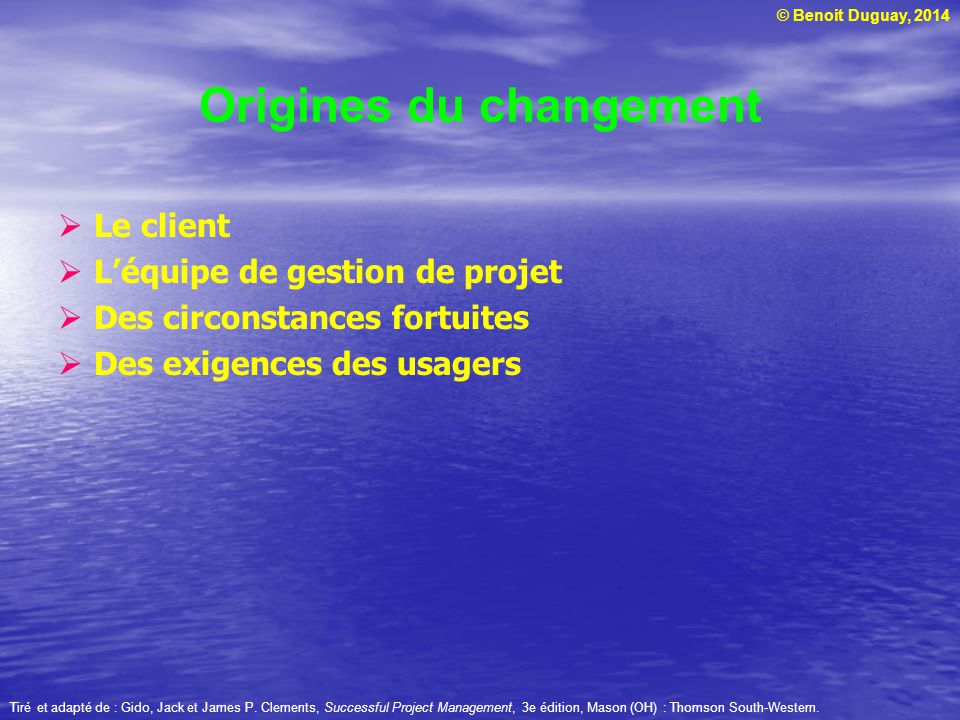 © Benoit Duguay, 2014 Origines du changement  Le client  L'équipe de gestion de projet  Des circonstances fortuites  Des exigences des usagers Tiré et adapté de : Gido, Jack et James P.