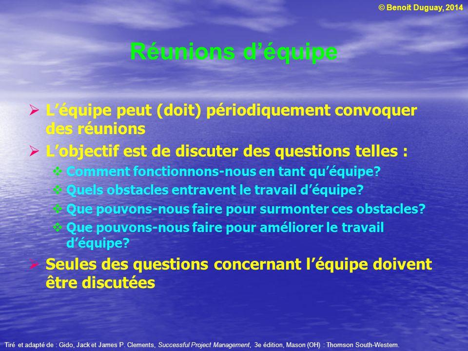 © Benoit Duguay, 2014 Réunions d'équipe  L'équipe peut (doit) périodiquement convoquer des réunions  L'objectif est de discuter des questions telles :  Comment fonctionnons-nous en tant qu'équipe.