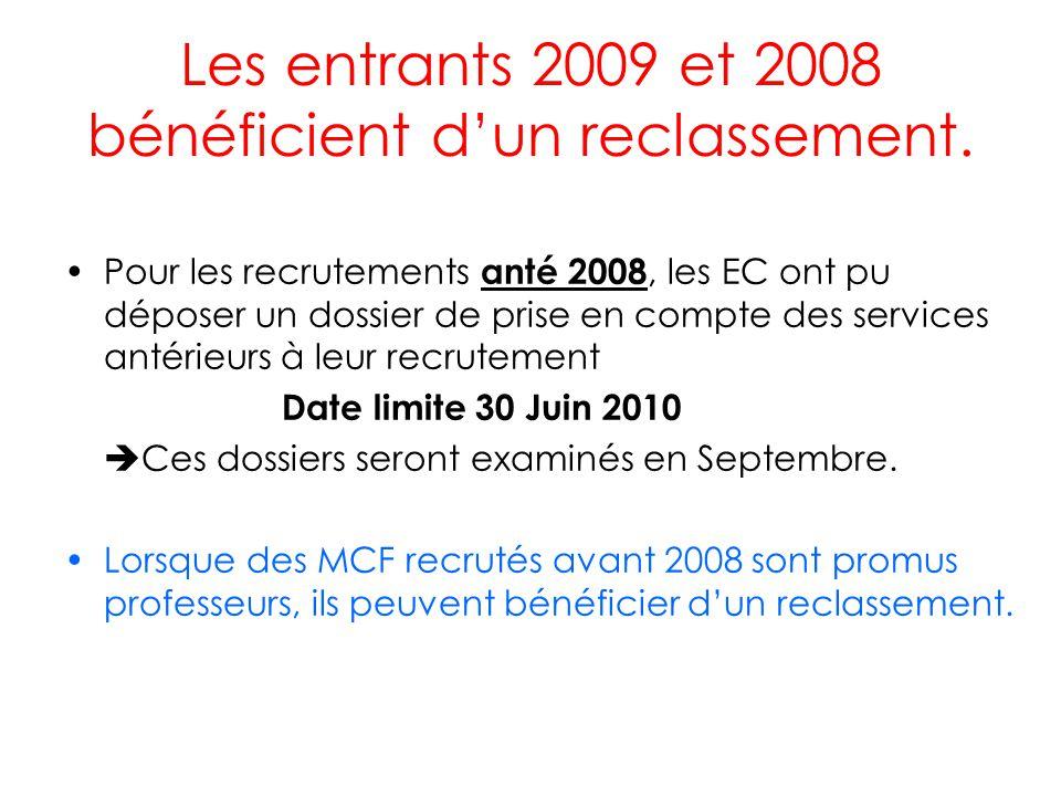 Les entrants 2009 et 2008 bénéficient d'un reclassement.