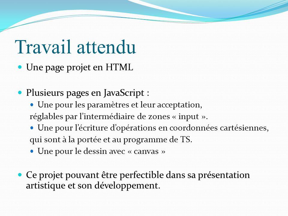 Travail attendu Une page projet en HTML Plusieurs pages en JavaScript : Une pour les paramètres et leur acceptation, réglables par l'intermédiaire de