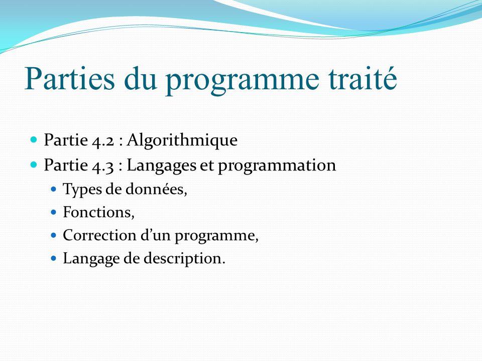Parties du programme traité Partie 4.2 : Algorithmique Partie 4.3 : Langages et programmation Types de données, Fonctions, Correction d'un programme,