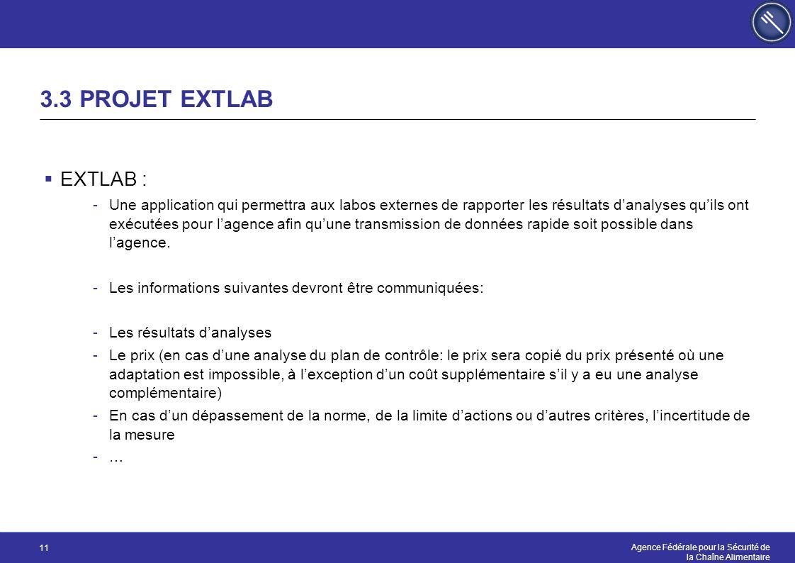 Agence Fédérale pour la Sécurité de la Chaîne Alimentaire 11 3.3 PROJET EXTLAB  EXTLAB : -Une application qui permettra aux labos externes de rapport