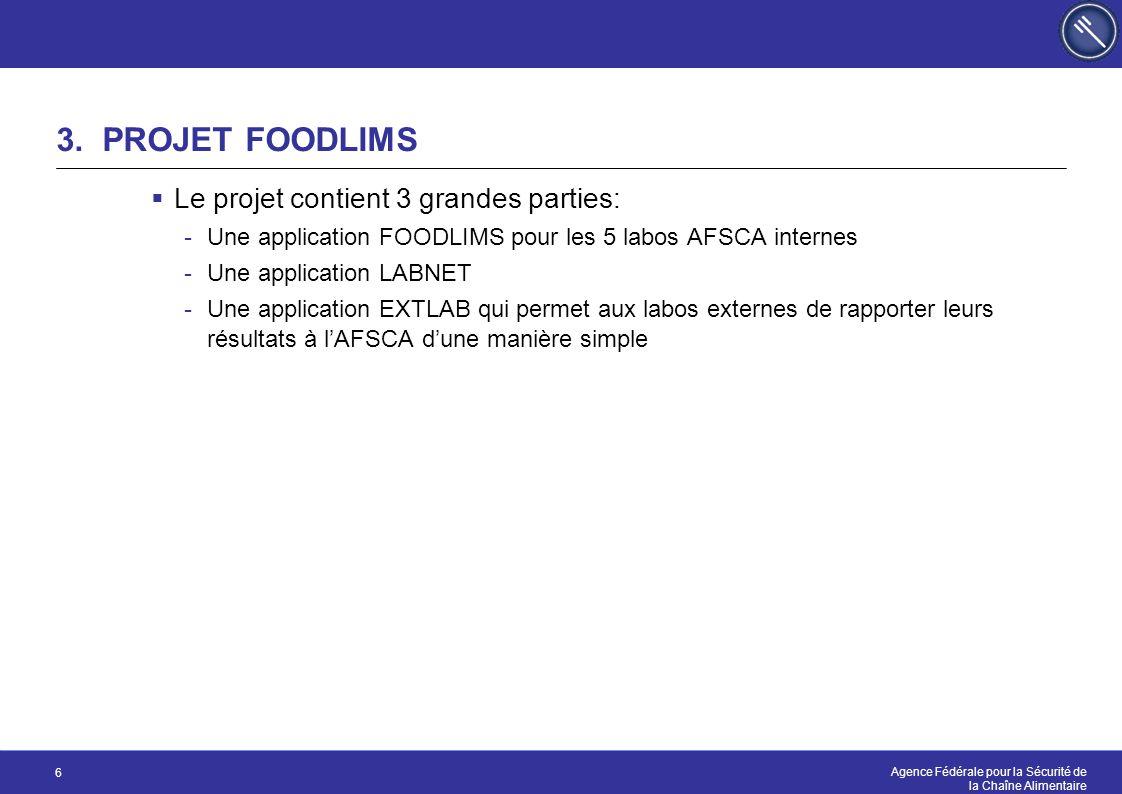 Agence Fédérale pour la Sécurité de la Chaîne Alimentaire 6 3. PROJET FOODLIMS  Le projet contient 3 grandes parties: -Une application FOODLIMS pour