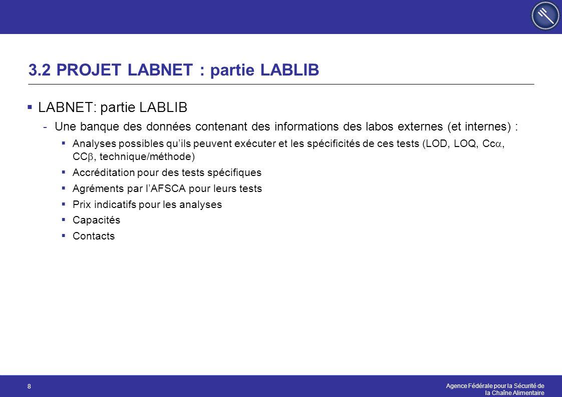 Agence Fédérale pour la Sécurité de la Chaîne Alimentaire 8 3.2 PROJET LABNET : partie LABLIB  LABNET: partie LABLIB -Une banque des données contenan