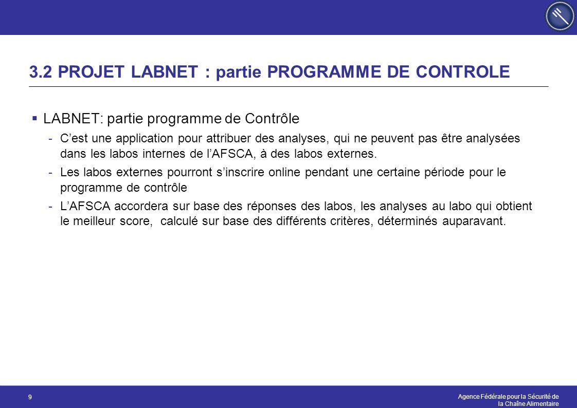 Agence Fédérale pour la Sécurité de la Chaîne Alimentaire 9 3.2 PROJET LABNET : partie PROGRAMME DE CONTROLE  LABNET: partie programme de Contrôle -C