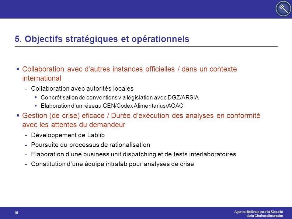 Agence fédérale pour la Sécurité de la Chaîne alimentaire 16 5. Objectifs stratégiques et opérationnels  Collaboration avec d'autres instances offici