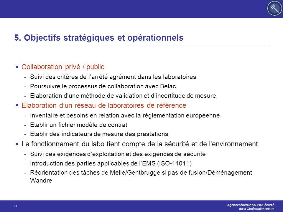 Agence fédérale pour la Sécurité de la Chaîne alimentaire 17 5. Objectifs stratégiques et opérationnels  Collaboration privé / public -Suivi des crit