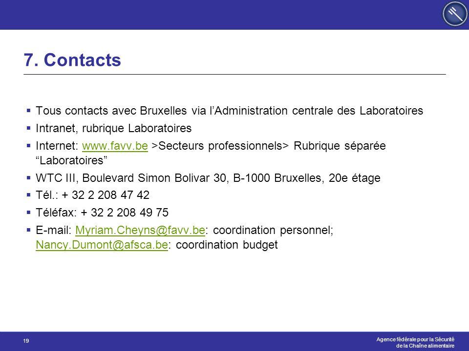 Agence fédérale pour la Sécurité de la Chaîne alimentaire 19 7. Contacts  Tous contacts avec Bruxelles via l'Administration centrale des Laboratoires