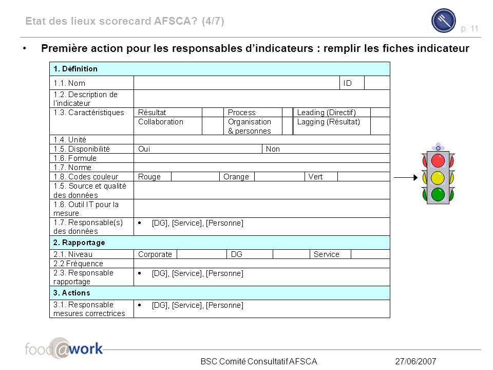 p. 10 BSC Comité Consultatif AFSCA27/06/2007 Etat des lieux scorecard AFSCA? (3/7) Les indicateurs suivants ont été retenus comme indicateurs potentie