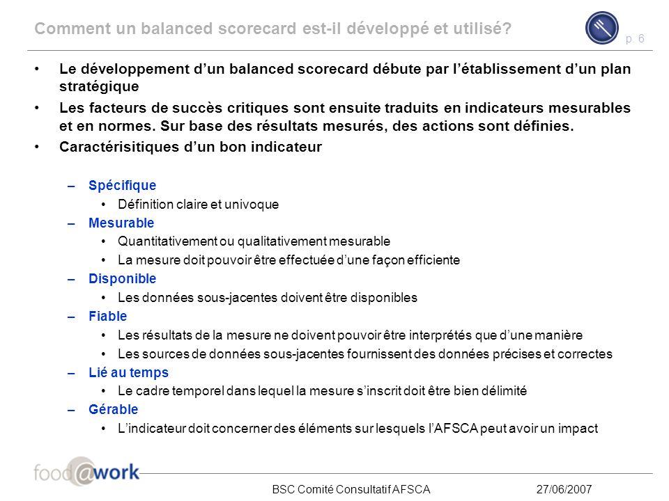 p. 5 BSC Comité Consultatif AFSCA27/06/2007 Contenu Qu'est-ce qu'un balanced scorecard? 1 Comment un balanced scorecard est-il développé et utilisé? 2
