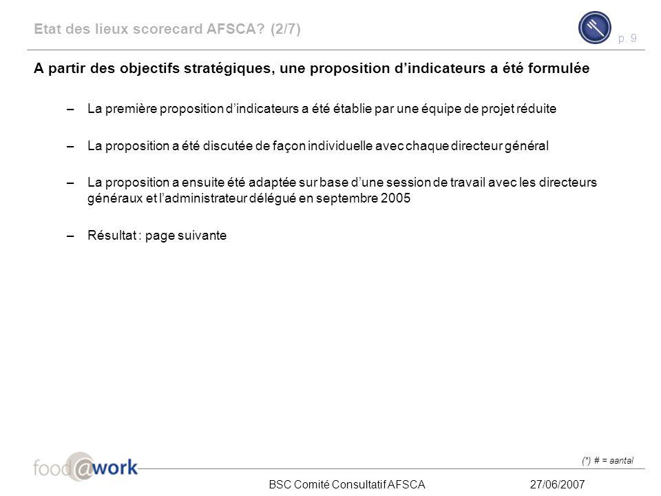 p. 8 BSC Comité Consultatif AFSCA27/06/2007 Etat des lieux scorecard AFSCA? (1/7) Les objectifs stratégiques, tels que décrits dans le business plan,