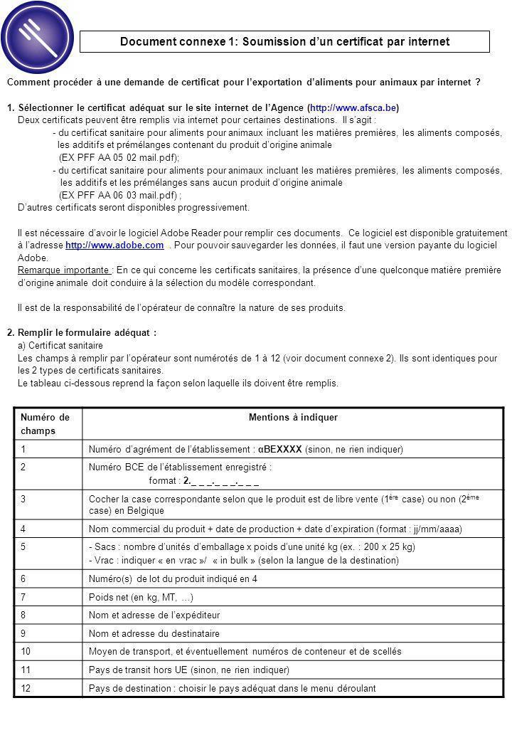Comment procéder à une demande de certificat pour l'exportation d'aliments pour animaux par internet .