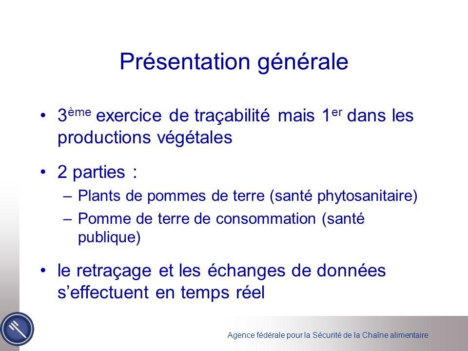 Présentation générale 3 ème exercice de traçabilité mais 1 er dans les productions végétales 2 parties : –Plants de pommes de terre (santé phytosanita