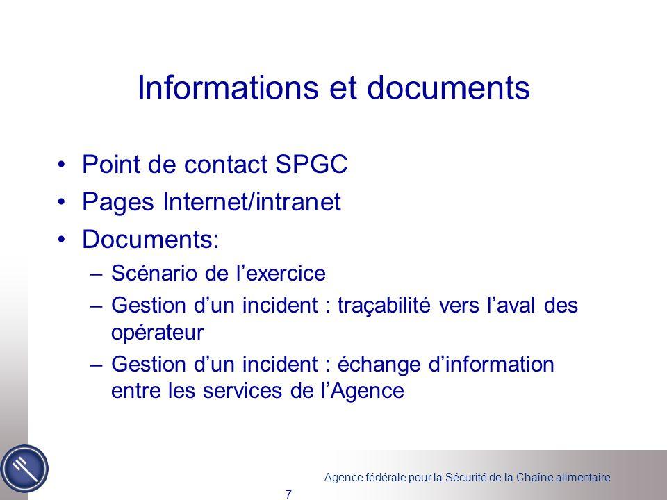 Agence fédérale pour la Sécurité de la Chaîne alimentaire Informations et documents Point de contact SPGC Pages Internet/intranet Documents: –Scénario